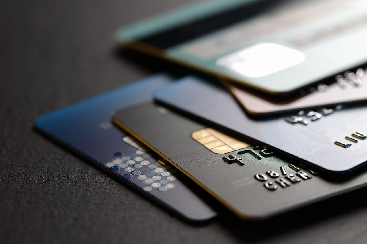 Close up of stacked bank credit cards used for Amazon transactions